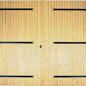 Porte de garage 2 vantaux (Ouverture extérieure) à barres et écharpes