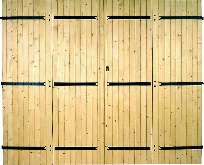 Porte de garage 4 vantaux à pentures et contre-pentures